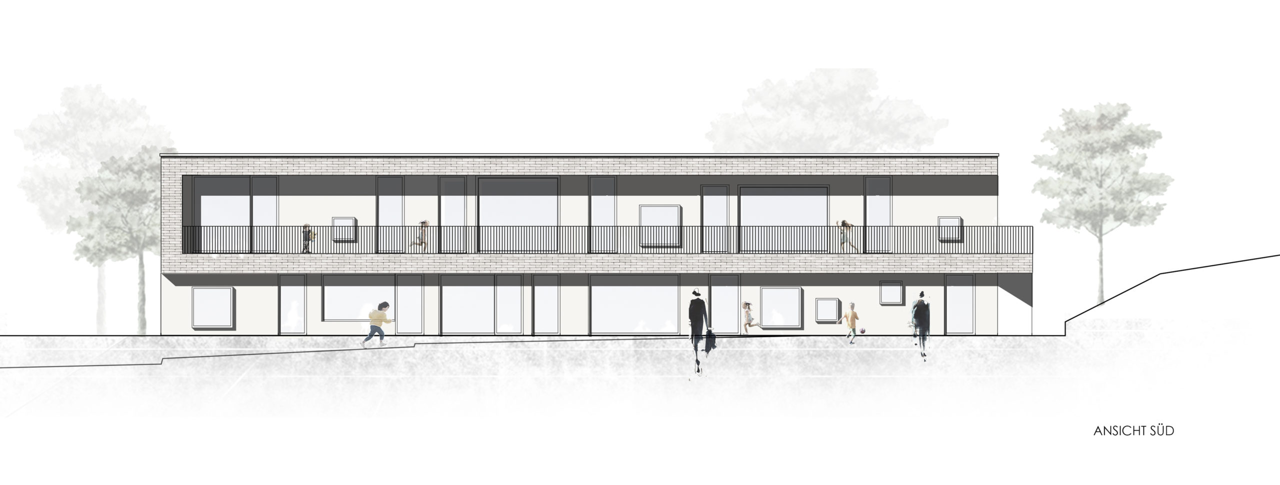 Visualisierung KiTa St. Clemens, Trier-Ruwer Neubau Ansicht Süd