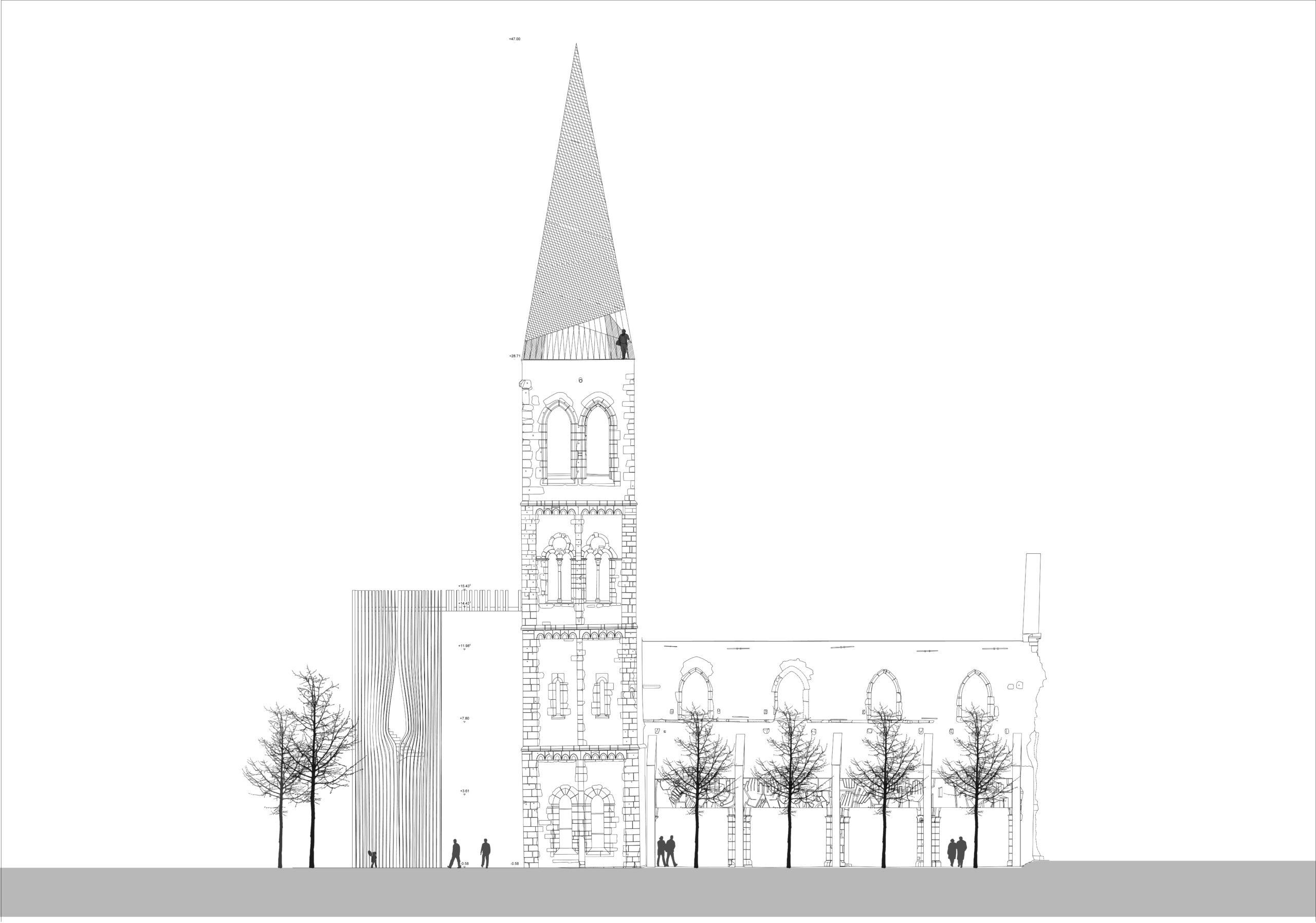 Gedenkstätte St. Christoph, Mainz Sanierung Entwurf Turm