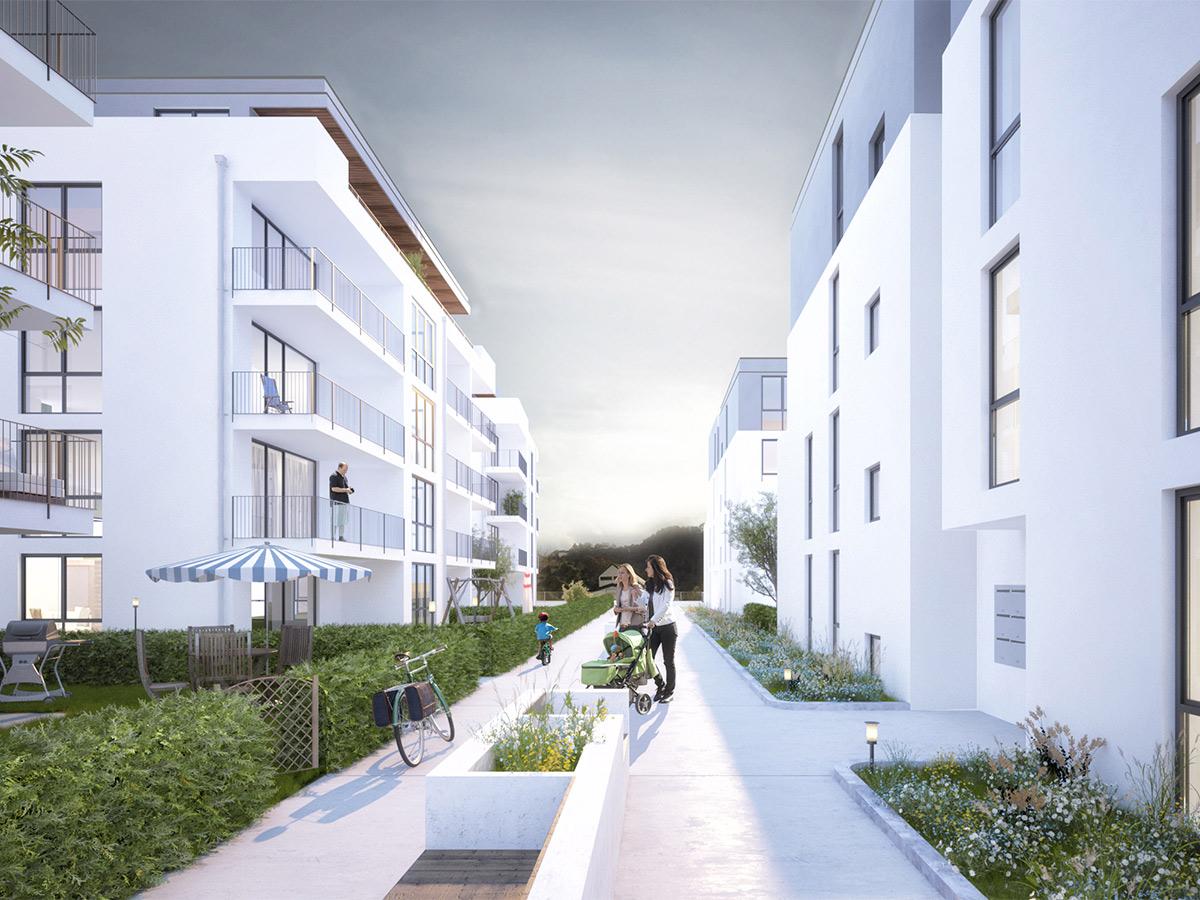 Wohnanlage, Bullay Neubau Innenhof