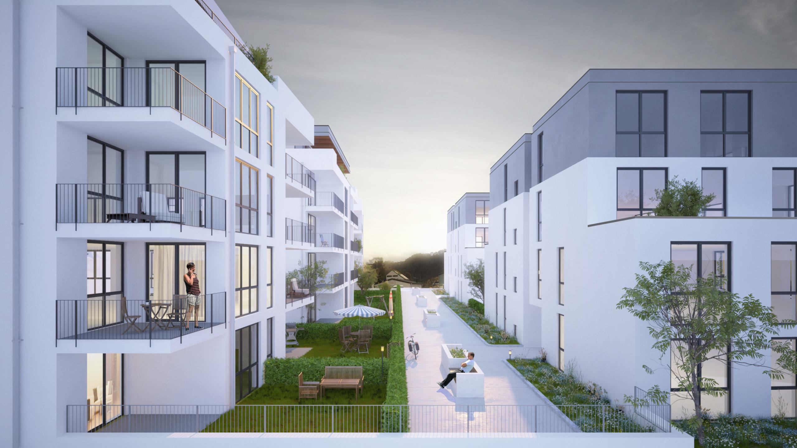 Wohnanlage, Bullay Neubau Visualisierung Außenansicht