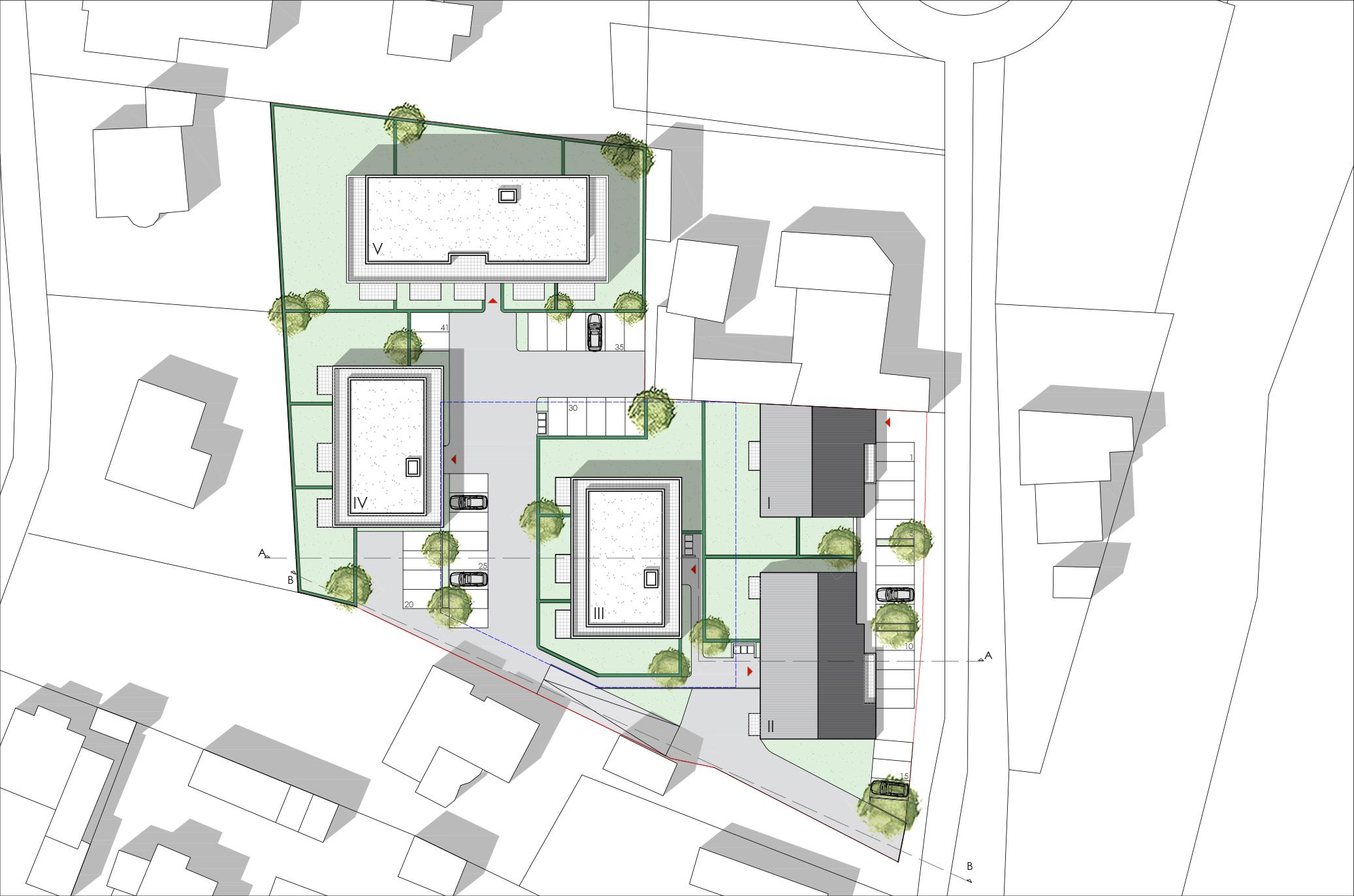 Entwurf Vogelperspektive Visualisierung Wohnanlage Ulmen Lageplan