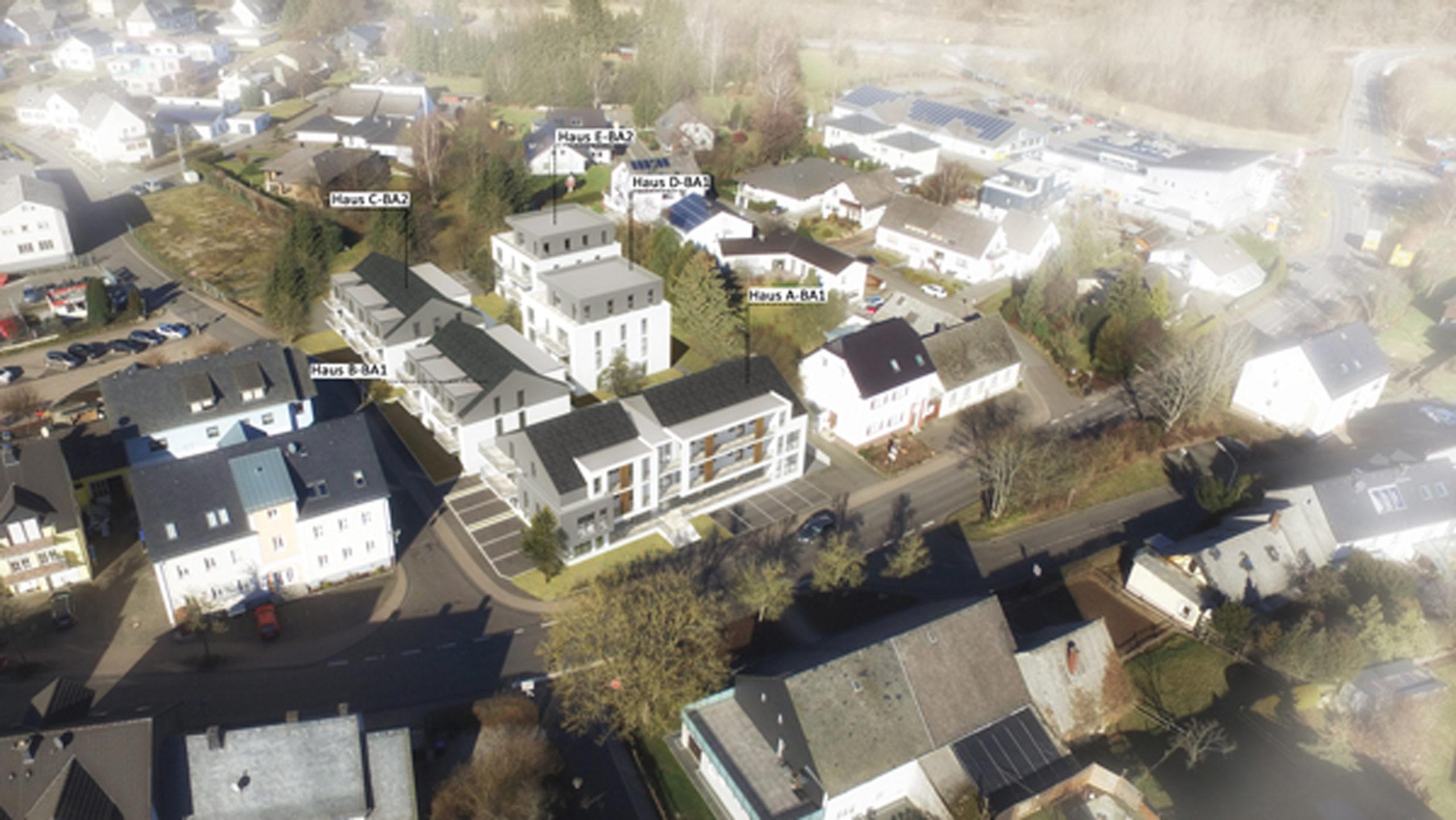 Wohnanlage Gerberweg, Morbach Neubau Visualisierung Punkthäuser